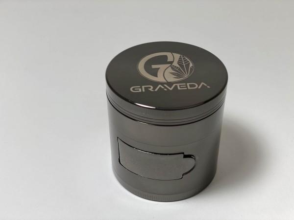 XXL Grinder Ø 6cm mit Klappe und Pollenfach, tragbarer Crusher, Kräutermühle inkl. Schaber, 4-teilig